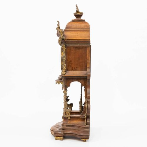 A German black forest table clock with bronze decorations, marked 'Lenzkirch' an…