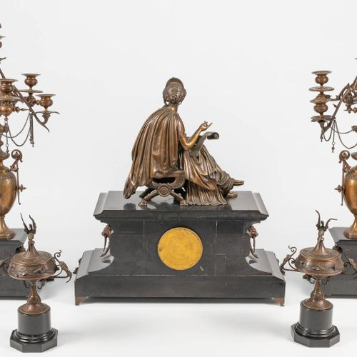 A 5 piece Luppens mantle garniture consisting of a clock with bronze figurine, 2…