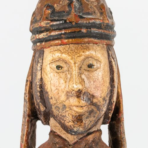 An antique wood sculptured statue of a holy figurine with original polychrom. 18…