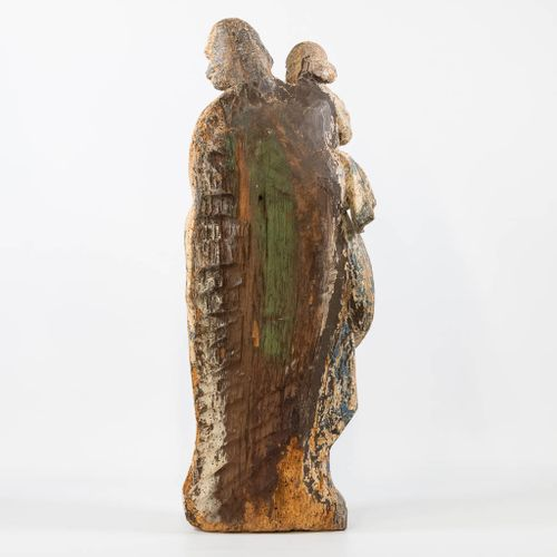 An antique wood sculptured statue, Holy Joseph with Child, Second half of 17th c…
