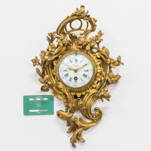 A small cartel clock made of bronze in Louis XV style, Dutertre à Paris and mark…