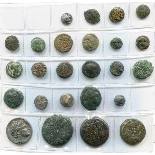 Lot of 25 p., of which Bruttium, Rhegion, bronze, T. Janiforme/Ascepius seated; …