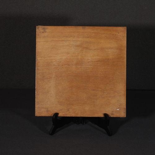 Light and dark wood veneer chess board with frieze frieze decoration of alternat…