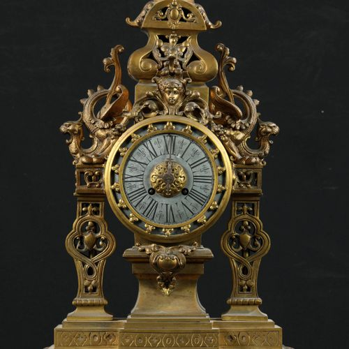 Clock in patinated gilt and silvered bronze with Neo Renaissance decoration. The…