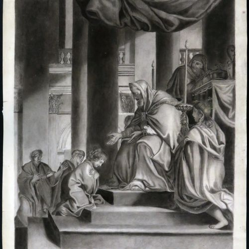CHARLES LE BRUN (after). The presentation of the Virgin in the Temple. Large pen…