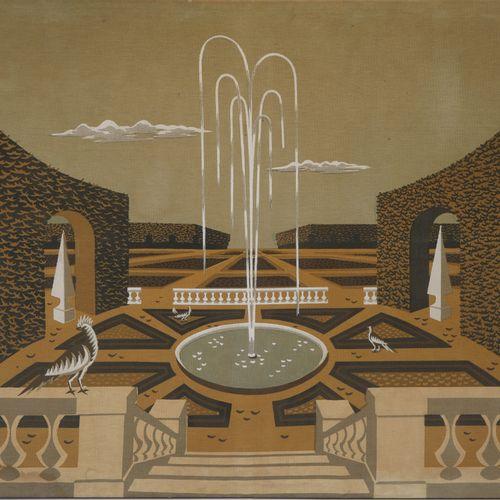 """Jean PICART LE DOUX (1902 1982) """"Jardin à la française"""" Impression sur toile épa…"""