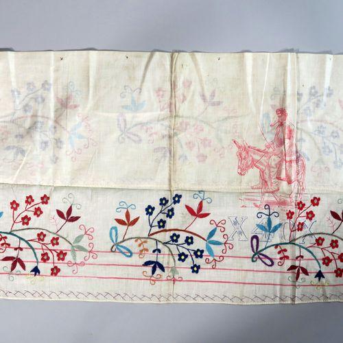 Mongolie tatare, circa 1900. Lot de quinze pièces de lin et coton brodées de fil…