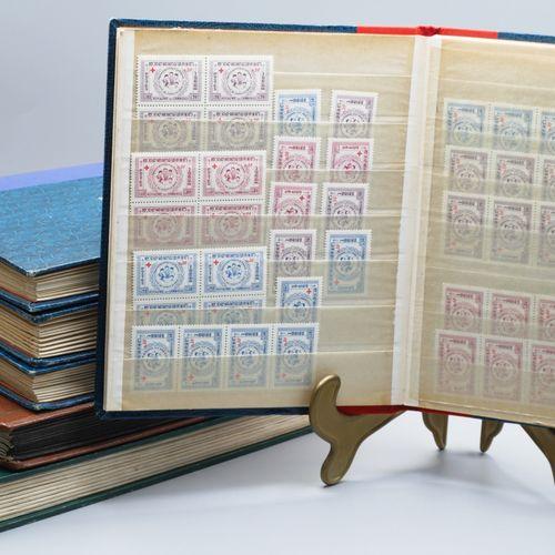 Lot de 6 albums de timbres: 2 Laos, 2 Thailande, 2 Cambodge. Années 50 / 60