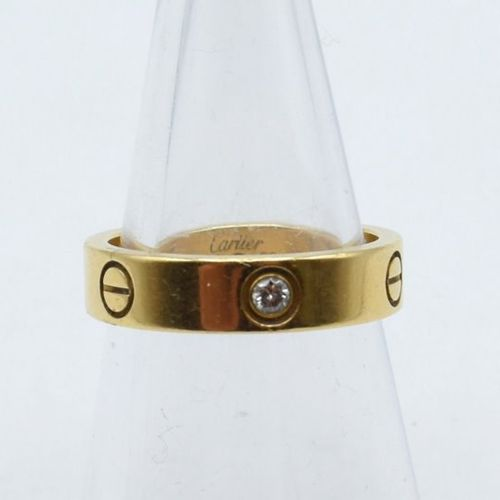 Ring in 18 ct yellow gold signed and numbered CARTIER set with 3 brilliants +/ 0…