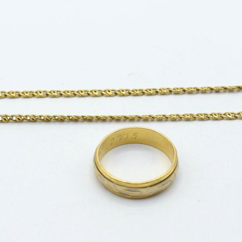 Alliance et collier en or jaune et blanc 18 ct (gravée) 14.5 g (Taille: 57) (51.…