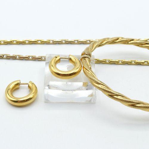 Collier, bracelet rigide et 2 boucles d'oreilles en or jaune et blanc 18 ct 23.6…