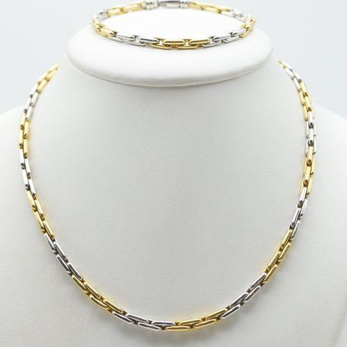 Collier et bracelet en or jaune et blanc 14 ct 33.5 g (45.5 & 21 cm) \nBeschrijv…
