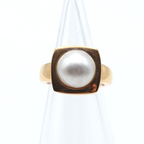 Bague en or rose 18 ct sertie d'1 perle mabé 12.6 g brut (Taille: 48.5) \nBeschr…