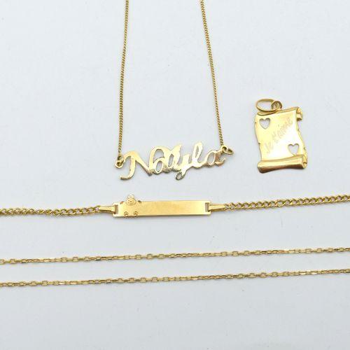 Collier en or jaune 18 ct (personnalisé) 2 g (36 cm) Collier, pendentif et gourm…