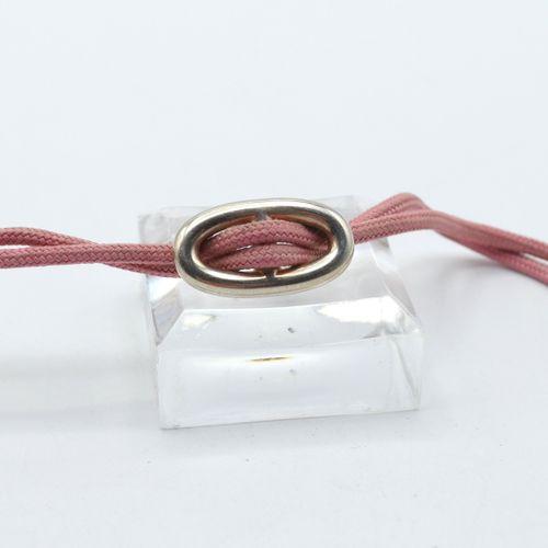 Bracelet en argent 925/1000 avec partie en corde signé HERMES (17.5 cm) \nBeschr…