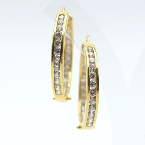 2 boucles d'oreilles en or jaune 18 ct (pierres fausses) 13 g brut \nBeschrijvin…