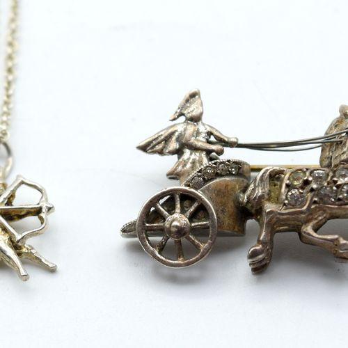 Collier, pendentif et broche en argent (pierres fausses) 11.6 g (43 cm) \nBeschr…