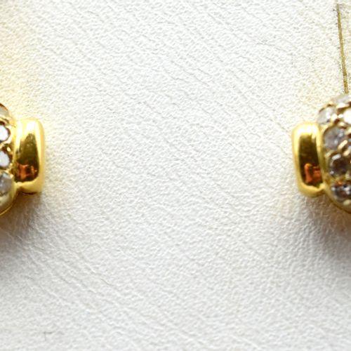 2 boucles d'oreilles en or jaune et blanc 18 ct serties de 26 diamants taille 8/…