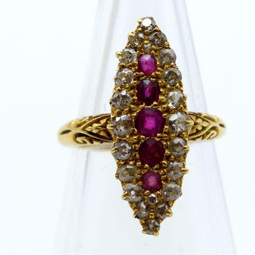 Bague en or jaune 18 ct sertie de 22 diamants taille ancienne +/ 1 ct (pierre de…