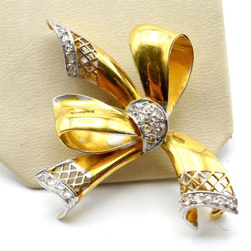Broche en or jaune 18 ct et argent sertie de roses de diamant 9.4 g \nBeschrijvi…
