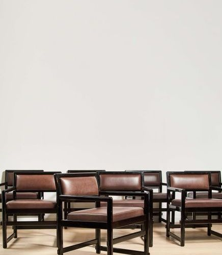 EDWARD J. WORMLEY (1907 1995) Vers 1960 Suite of eight armchairs, model 5762, ci…