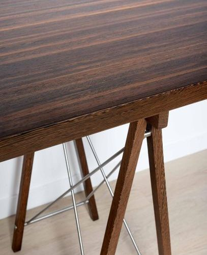 JULES WABBES (1919 1974) Vers 1958 Trestle console table Solid wenge slats, nick…