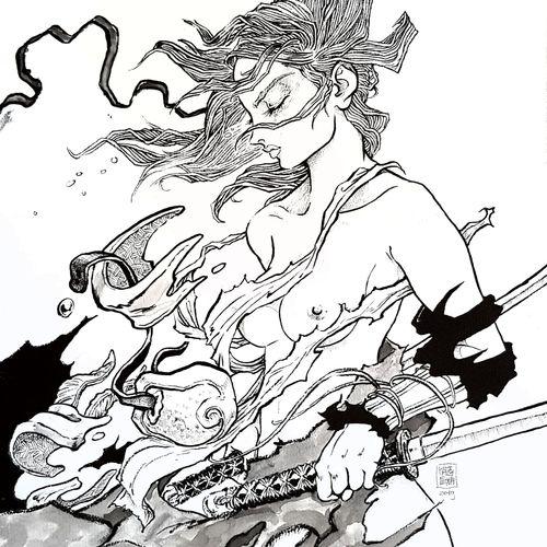 "NATSUSAKA Shinichiro "" Onna bugeisha "" Original drawing  Chinese ink and wash  S…"