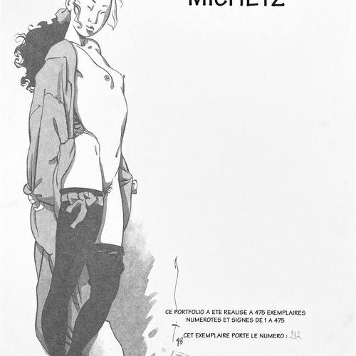 "MICHETZ "" Silhouet ""  Cardboard portfolio containing 8 offsets and a receipt.  L…"