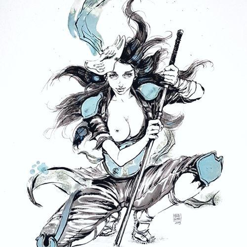 "NATSUSAKA Shinichiro "" Renard "" Original drawing Ink, wash and acrylic  Signed a…"