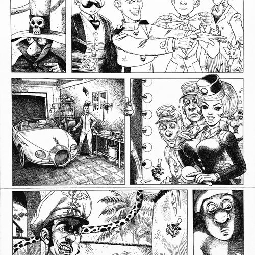 """BELTRAN Board for """"Le Journal Spirou"""".  India ink on paper  A pastiche of some f…"""