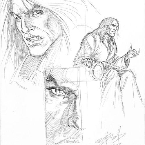 "SWOLFS "" Le Prince de la nuit "" Original drawing signed  Study pencil representi…"