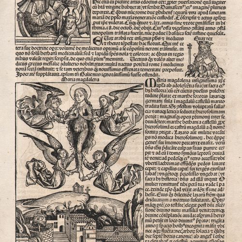 Nuremberg Chronicle 1493 Maria Magdalena, S.Lucas painting / Description: Sexta …