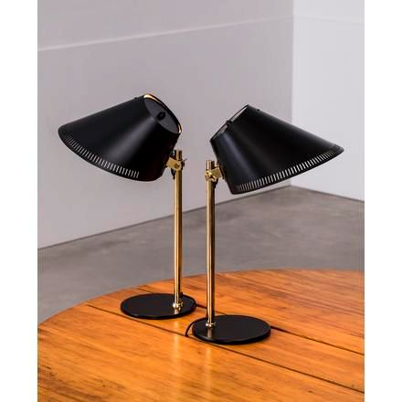 "PAAVO TYNELL A pair of matte black ""9227"" adjustable table lamps from the mid XX…"