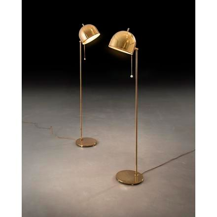 "Eje Ahlgren A pair of brass orientable ""G 075"" floor lamp, designed by Eje Ahlgr…"