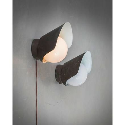 """PAAVO TYNELL A pair of patinated cooper """"7309"""" outdoor lamps, designed by Paavo …"""