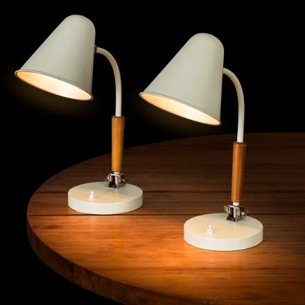 "PAAVO TYNELL A pair of ""81408"" Tynell mint green desk lamps with wood details, d…"
