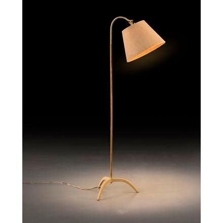 """PAAVO TYNELL A """"9609"""" floor lamp with rattan and cream foot in its beautiful ori…"""
