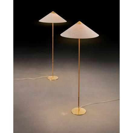 """PAAVO TYNELL A pair of """"9602 chinese hat"""" floor lamps with rattan around the ste…"""