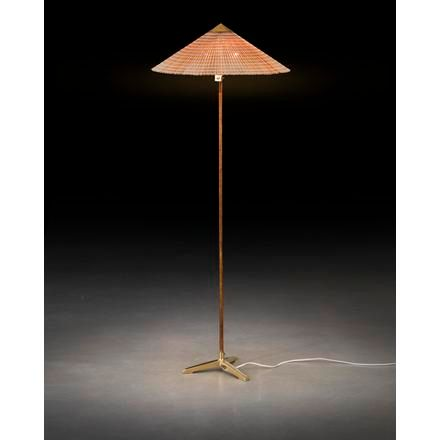 "PAAVO TYNELL A ""9602 Chinese hat"" floor lamp with rattan around the stem and woo…"