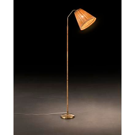 UNKNOWN A finnish brass floor lamp with wood stripes shades and rattan details f…