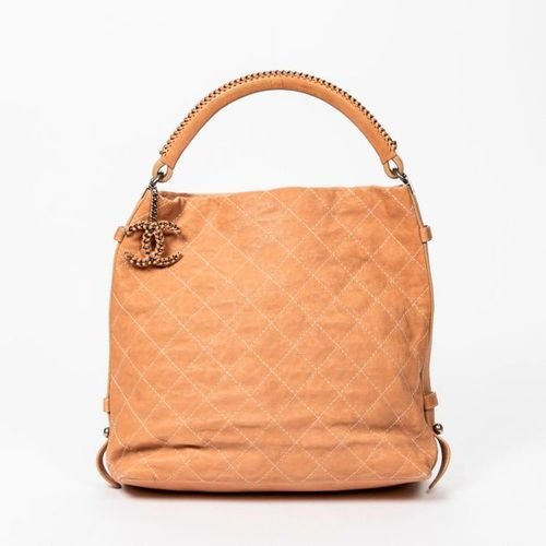 CHANEL Pre Loved Chanel Braided Handle Hobo in Beige Small Grained Quilted Leath…
