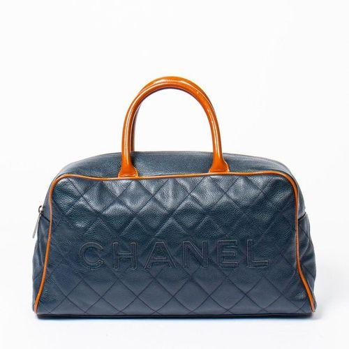 "CHANEL Pre Loved Chanel ""CHANEL"" Logo Medium Boston in Navy Blue/Brown Front Log…"