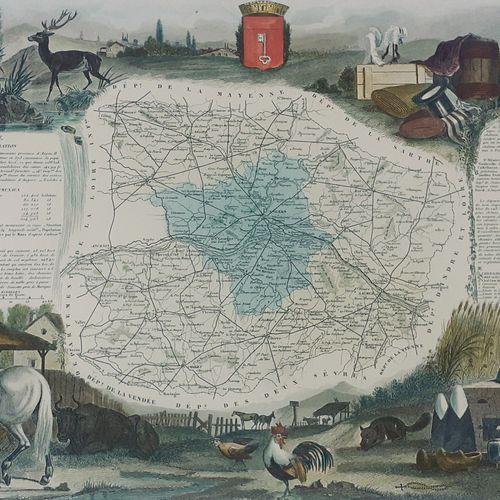 DEPARTEMENT DU MAINE ET LOIRE. Belle carte en couleurs, vers 1870 Sous marquise …