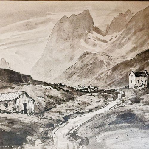DREVET (Joannès). Col du Glandon 1929. Lavis de grande taille, 28,5 x 21,5 cm, b…