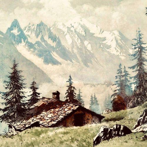 DREVET (Joanny). Ferme du Chenavy (Mont Blanc). Becc. 164. Encadrée 47 x 56 cm, …