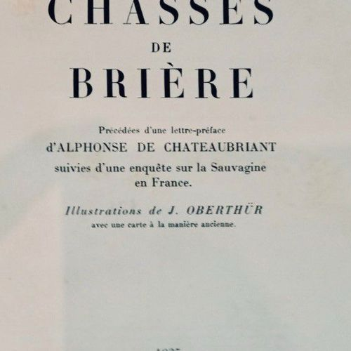 WITT (Jean de). Chasses de Brière. Paris, Éditions de la Bonne Idée, 1935, in 8,…