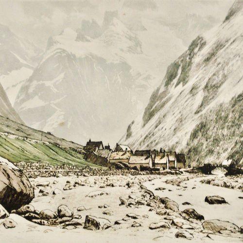 DREVET (Joanny). Les Ecrins et le Hameau des Etages (Vallée du Vénéon), Becc. 19…