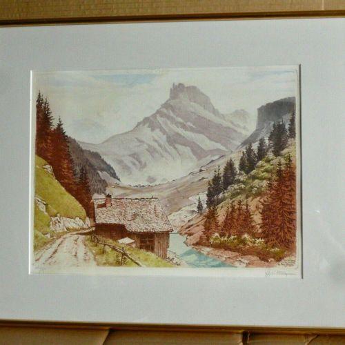 DREVET (Joanny). Roselend Roc du Vent – Le Mont Blanc. Becc. 262, encadrée, 46 …