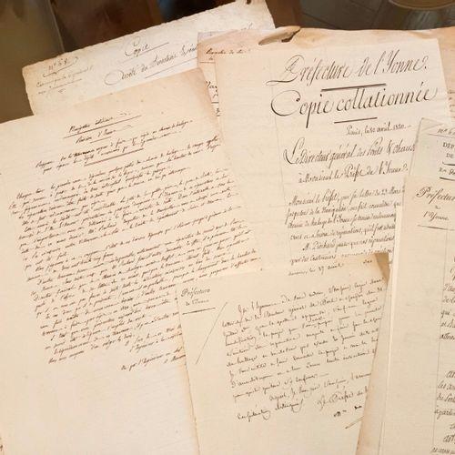 BOURGOGNE YONNE Interessant ensemble de documents manuscrits concernant les cana…