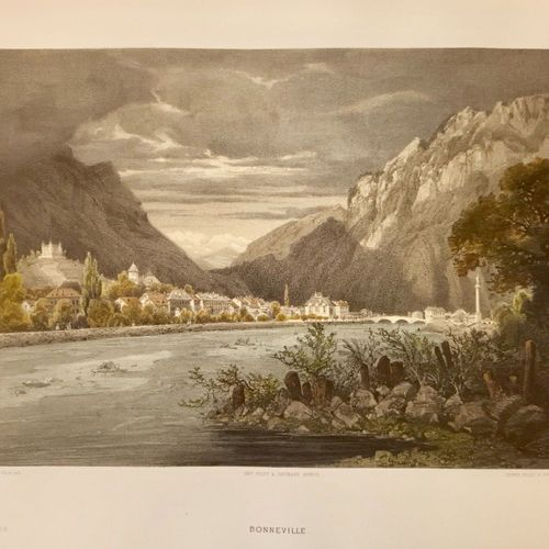 SAVOIE BONNEVILLE. Rare lithographie coloriée, signée Terry,montrant l' Arve et…